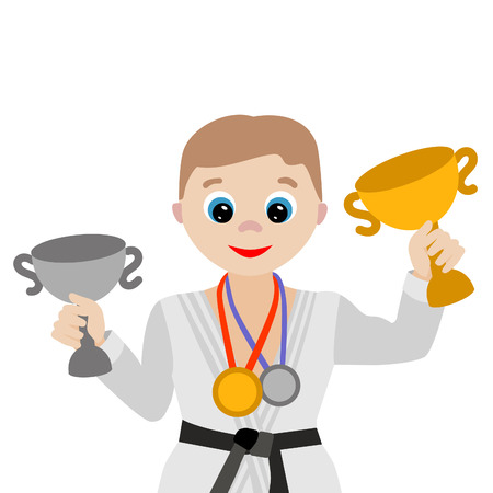 Vector illustration. Cartoon judoka with cups and awards isolated on white background Illustration