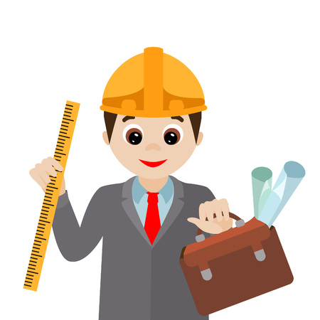 Vector illustration. Cartoon engineer with drawings isolated on white background