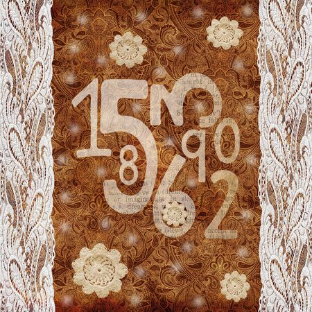 scrap: Chocolate vintage scrap background with laces,numbers and crochet elements
