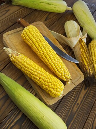 juicy: fresh juicy corn on the wooden table