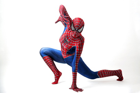 man spider on white background, halloween costume