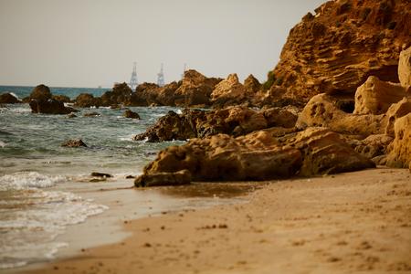 View of a beautiful sandy beach in Israel. Stock fotó