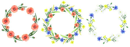 Hand drawn watercolor set of wreaths with wildflowers on white. Set of floral frame made with wildflowers.