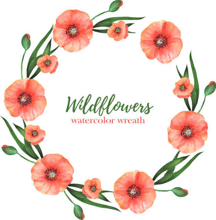 Watercolor wreath of red poppies with green leaves on a white background. Summer flower frame for wedding invitations, greeting cards and other. Vector illustration. 矢量图像