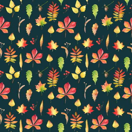 Seamless pattern with hand drawn watercolor autumn leaves.
