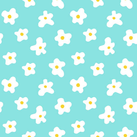 Floral seamless pattern with camomile on a blue background in flat style.