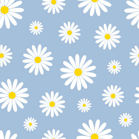 White daisies on a blue background seamless vector pattern. Decorative vector background for print, fabric, web. Elegant summer decoration.