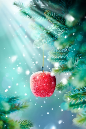 Christmas Card with Red Apple on the Branch photo
