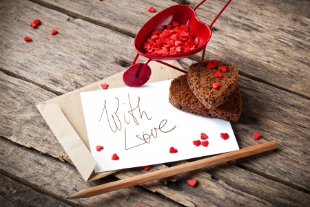 Red Cart with St. Valentines Day Little Hearts and  Letter Isolated on White Your Own Text
