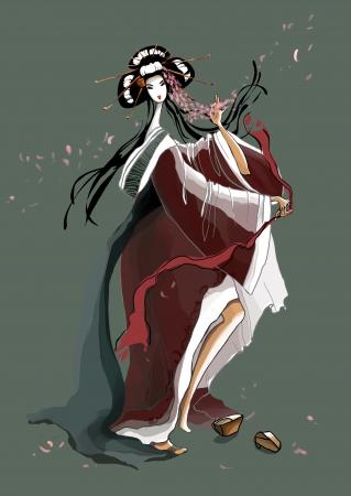 Dance of the Young Geisha  illustration Stock Illustration - 17364680