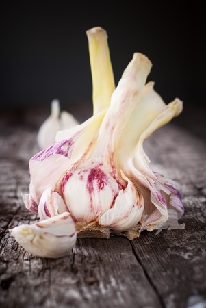 Fresh Garlic on the Wooden Table, selective focus photo