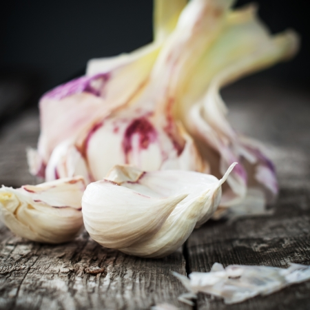 Fresh Organic Garlic on the Wooden Table, selective focus photo