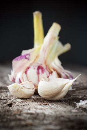 Organic Garlic on the Wooden Table, selective focus photo
