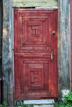 fanlight: Old Rural Door of red color, retro