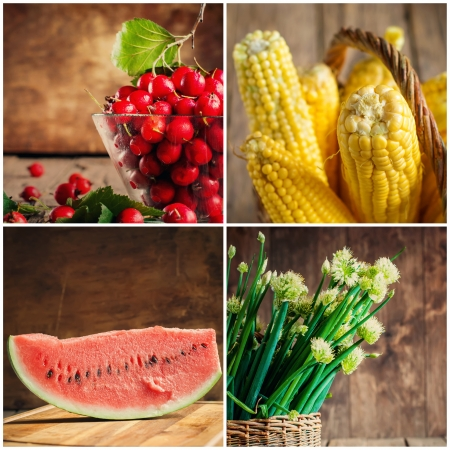 Collage of fresh vegetables, berries and fruits, selective focus  Onion, Corn, Watermelon, Hawthorn