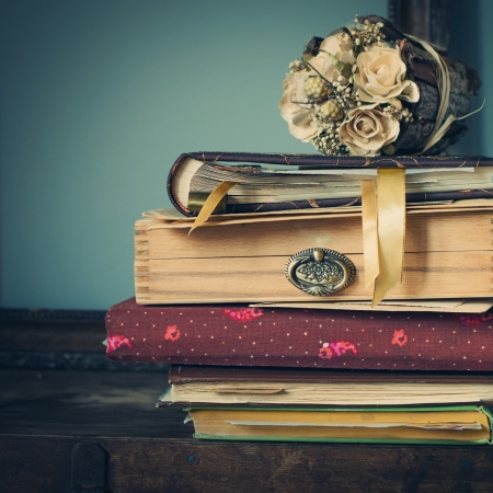 romanticism: Vintage Albums with Photos of Memories, toned image