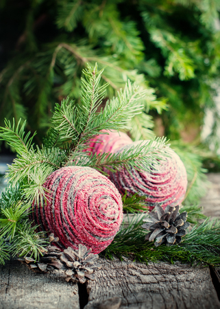 Christmas Card with Pink Balls in simple composition, vintage