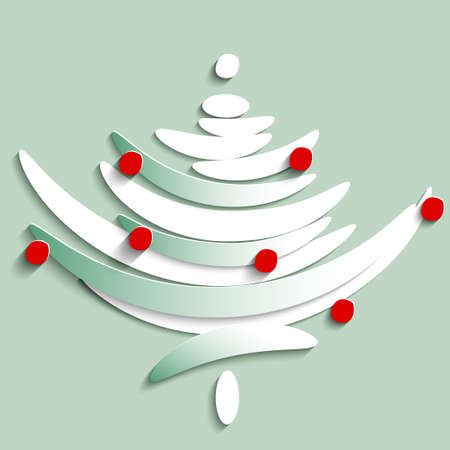 stylize: Stylize Symbol of Fir tree decorated with red toys, illustration