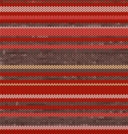 Striped Knit Seamless Pattern with red pink colors, illustration Standard-Bild