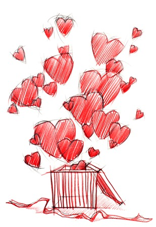 Sketching Drawing Box with Red Hearts, isolated on white