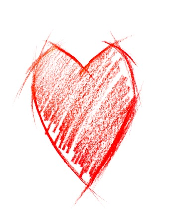 sketch drawing: Red Heart isolated on white, freehand sketch drawing Stock Photo