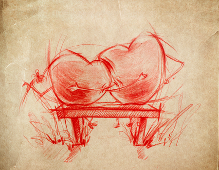 love story: Two Red Hearts sitting on a bench, sketch drawing on a cardboard Stock Photo