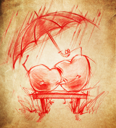 Two Hearts in Love sit under an umbrella, sketch drawing on a cardboard photo