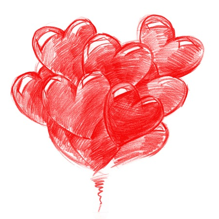 Red Balloons in the shape of Hearts for Valentine's day,pencil drawing, illustration
