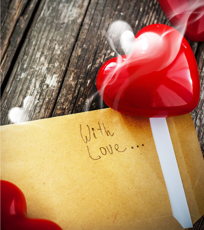 Letter with Smell of Love and Shine Red Heart photo