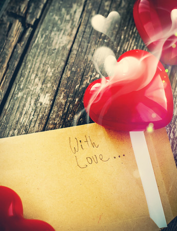 Message in Letter and Red Heart with Fragrant of Love photo