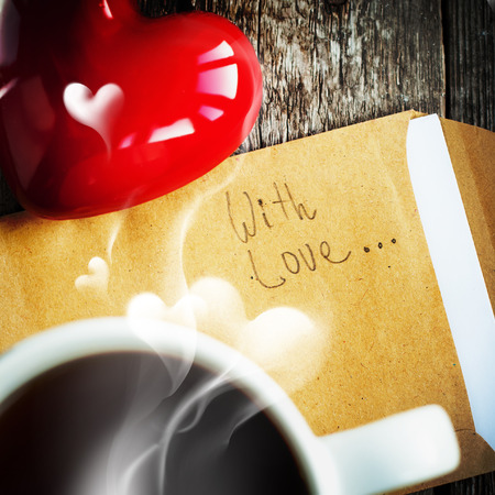 Morning Tea with Steam in the Shape of Heart and Message With Love photo