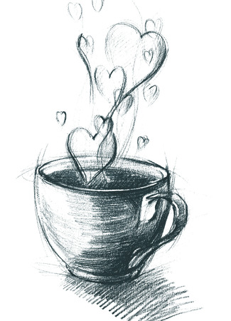 Cup of Tea with Steam hearts, isolated on white, freehand sketch drawing Standard-Bild