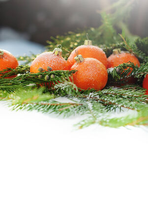 Greeting Card with Tangerines as Fir-tree Toy and Branch of Coniferous on Snow, isolated on white photo