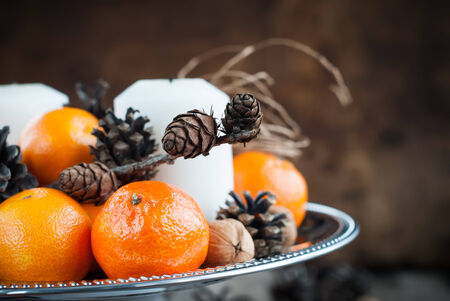 cristmas card: Christmas Composition with Tangerines, holiday decoration Stock Photo