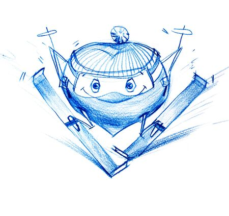 Skier Climbs Down a Mountain. Set. Character Heart in Various Life Situations. Graphic illustration in Pencil Drawing