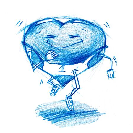 life metaphor: Running Athlete. Set. Character Heart in Various Life Situations. Graphic illustration in Pencil Drawing. metaphor Stock Photo