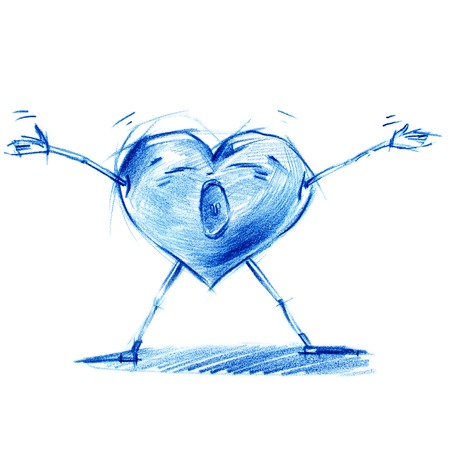 life metaphor: Shout from Heart Depth. Set with Character Heart in Various Life Situations. Graphic illustration in Pencil Drawing.  Metaphor.