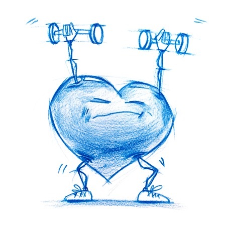 sports symbols metaphors: Athlete Lifting Weights. Set. Character Heart in Various Life Situations. Graphic illustration in Pencil Drawing. Metaphor