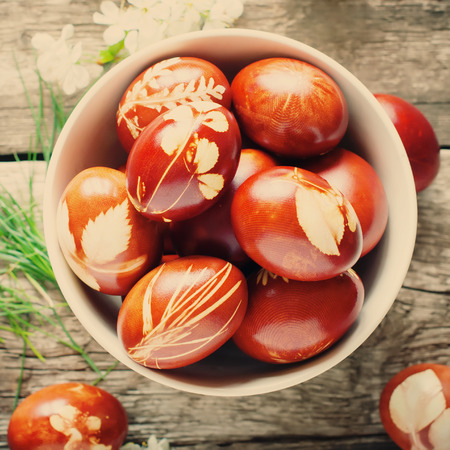 Close up of Bowl with Easter Eggs Decorated with Natural Fresh Leaves and Boiled in Onions Peels Standard-Bild