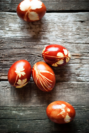 peels: Easter Eggs Decorated with Natural Fresh Leaves and Boiled in Onions Peels