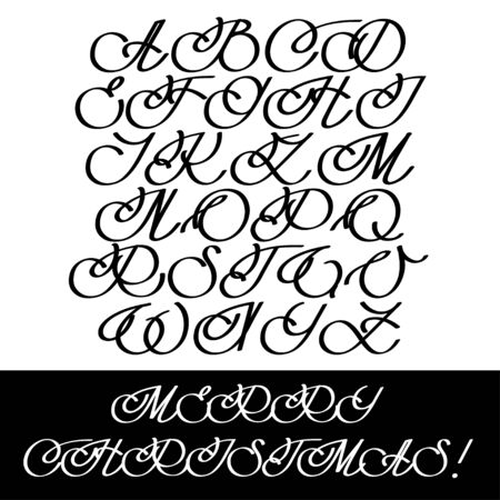 headline: Calligraphy Alphabet Set. Headline Cursive Letters. illustration Stock Photo