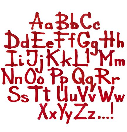 big size: Hand written Alphabet by Red Marker with texture of Paper. Letters isolated on white. Big size Stock Photo