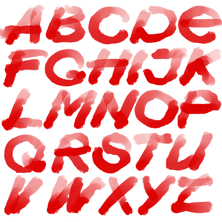 headline: Digital Calligraphy Alphabet Set. Headline Letters. illustration Stock Photo