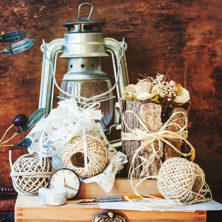 chronicle: Vintage Things with Memories in Still Life on Wooden Background Stock Photo