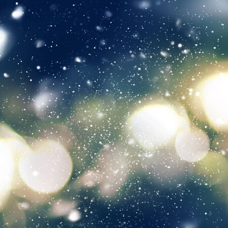 smoothness: Bright Night Light in defocused with Snowfall. Blue, yellow color. Vibrant Background.  Digital Drawing