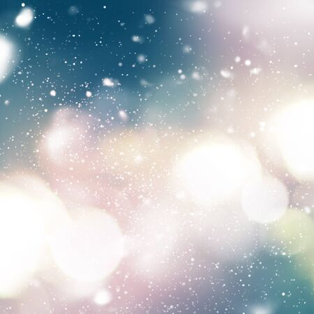 Bright Light with Snowfall on sky. Blue, yellow color. Pastel Background. Digital Drawing