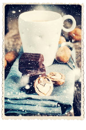 cookies: Retro Postcard  isolated on White with Chocolate, Halves of Walnuts in the shape of Heart. Drawn Snow