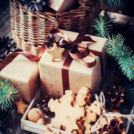 festive pine cones: Festive Boxes, Cookies and Pine Cones. Christmas Vintage Style