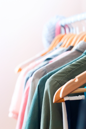 Close up of Color Woman Clothes on Open Hanger
