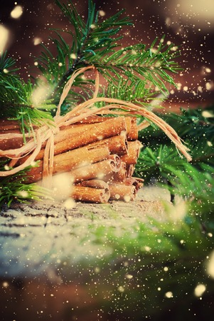 cristmas card: Christmas Card. Bunch with Cinnamon Sticks tied up by a Rope and Branches of Fir Tree on a Wooden Background. Drawn Snow. Toned